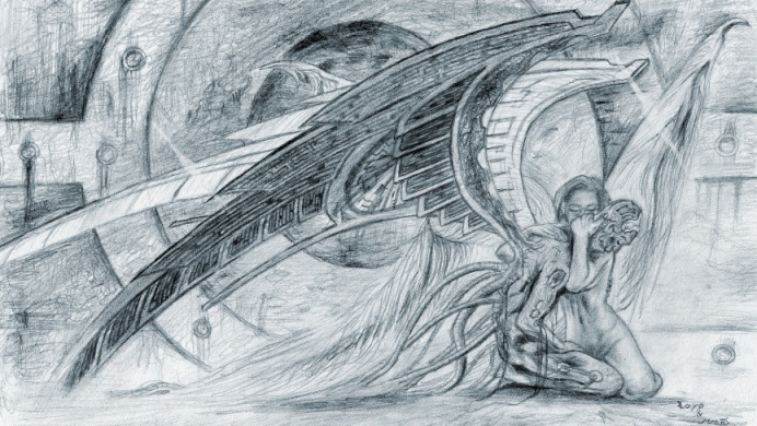 Kresba Padlý anděl